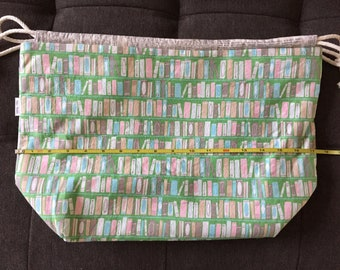 Booklover's Shelves Large Drawstring Bag