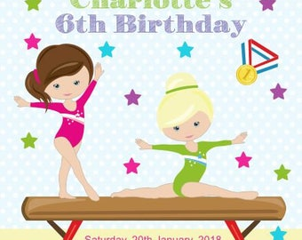 10 x Personalised Gymnastics Children Birthday Invitations or Thank you Cards