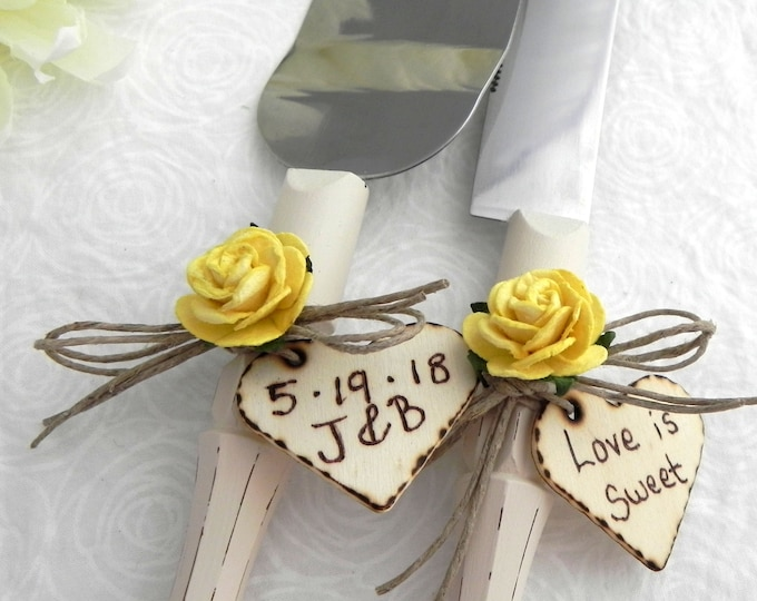Rustic Chic Wedding Cake Server And Knife Set, Cream and Yellow, Personalized Wood Hearts, Bridal Shower Gift, Wedding Gift
