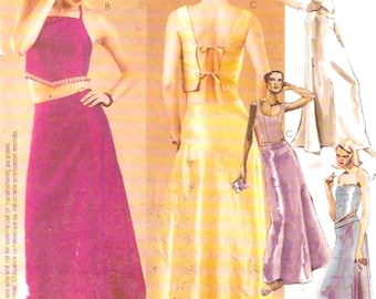Lined tops skirts evening wear Wedding grad Brides Sewing pattern Evening Elegance  McCalls 3032 Sz 4 to 8 or 8 to 12 Sz 12 to 16 UNCUT