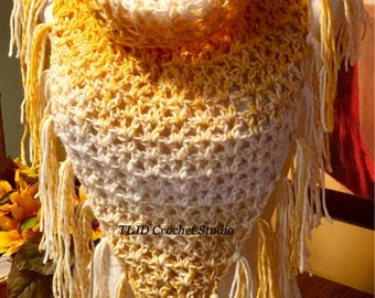 SALE!!! V-Stitch Triangle Cowl with button Enclosure in mustard yellow and white made in very soft yarn.