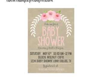 Baby Shower Invitation 4x6 or 5x7 digital you print your own- Design 239