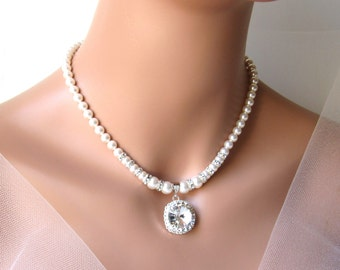 Pearl Necklace, Bridal Rhinestone Necklace, Pearl & Rhinestone Necklace, Crystal Pendant Necklace, Wedding Jewelry Swarovski Bridal Jewelry