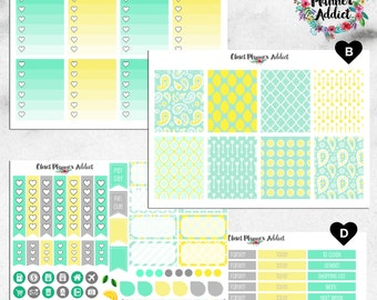 Vertical Weekly Kit Planner Stickers - Mint and Lemon | Boxes, MDN, Icons | For Use With Erin Condren Life Planner™ (EC-010)