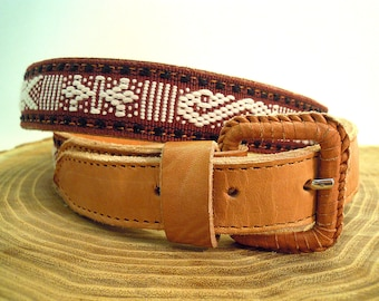 Mexican leather belt , Cotton handwoven in Oaxaca, Mexico, fair trade