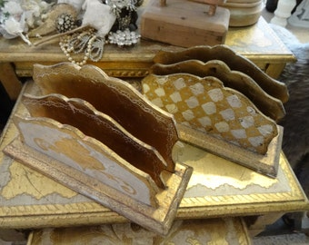 Vintage Shabby Cottage Chic Florentine Set 2 Letter Holders