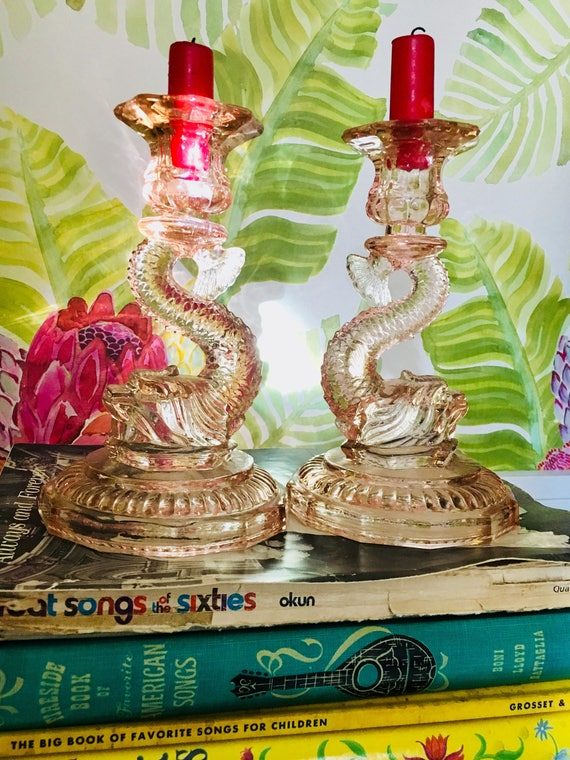RARE Pair of Pink Depression Glass Fish Candlestick Holders - Circa 1930s / 1940s - Vintage Fish Candle Holders by Jeanette Glass Company