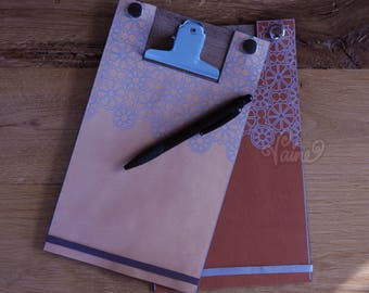 Notebook_A5_Handmade_Leather_Port Folio_ Journal_Travelers_Personalized_Storage folder_Paper clip