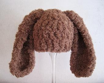 Newborn Bunny Hat, Newborn Hat, Boy Bunny Hat, Girl Bunny Hat, Infant Bunny Hat, Newborn Easter Hat, Infant Easter Hat, Baby Hat, Brown