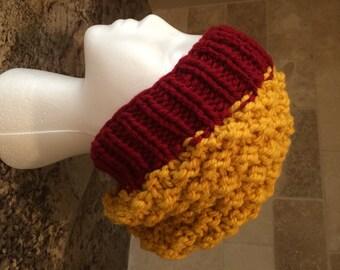 Checkered Hand Knit Slouchy Beanie - Teens/Women