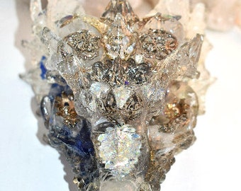Silver Moon Warrior Dragon with Moonstone, Rutilated Quartz, Citrin, Azeztulite, Clear Quartz, Amethyst, Rose Quartz,Pertified Wood & More