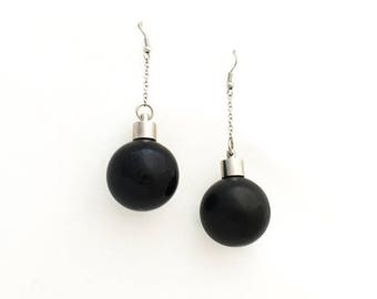 Porcelain earrings, black glossy earrings, pendant ball earrings, silver plated brass
