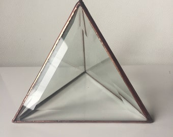 Clear Glass Triangle Bevel Pyramid