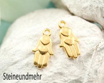 2x Hamsa Hand Heart gilded art. 3410