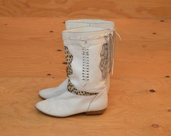 Vintage 80's White Leather Animal Print Pony Hair Boots Woven Slip On SZ 8.5