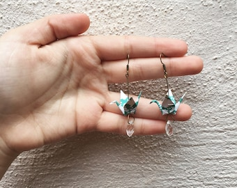 Turquoise origami crane earrings with crystal glass bead