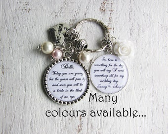 Personalized Flower Girl Gift from Bride and Groom, Personalized Flower Girl Necklace or Keychain, Flower Girl gift Ideas, Bridal Party Gift