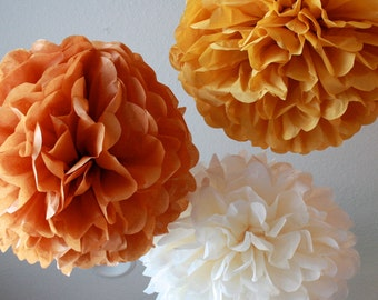 Tissue Paper Pom Poms- 12 Poms - Your color choice