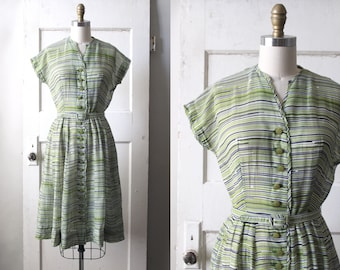 Vintage 1940s Green & Navy Striped Dress / Late 40s Cotton Gauze Day Dress / Photosynthesis Dress