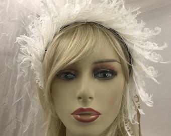 Wedding  Headband, Whimsical White Headband, Wearable White, Cute  costume, Feather headband