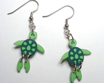 Handcrafted Plastic Jointed Ocean Sea Turtle Earrings Gifts for Her seatur01