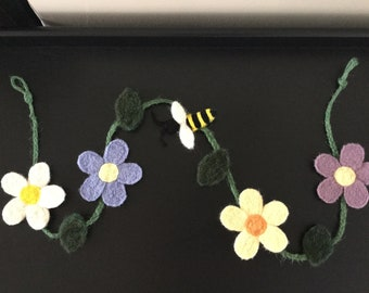 Needle Felted Flowers and Bumble Bee Garland/Swag