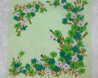 Lovely Bright & Pastel Green Floral Border Vintage 50s 60s Scarf