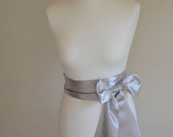 Silver grey sash, Wedding sash, bridal sash, flower girl sash, ivory sash, silver grey sash, wedding belt, bridal belt, satin sash, bow sash