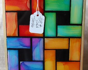 Hot & Cold - Art Trivet, Alcohol Ink and Resin on Ceramic Tile