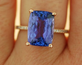 Tanzanite Ring. Rose Gold Engagement Ring GIA certified Lavender Lilac Tanzanite cushion cut engagement ring 14k rose gold.