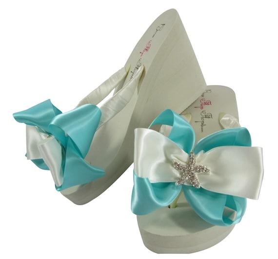 Beach Egg Ivory Satin flip Rhinestone Turquoise Wedge with wedding Blue Flops Robin's Bridal bows Flip Starfish White heel Bride flops wp6gxXUqX