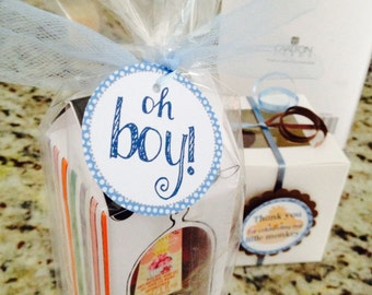 Oh boy - Baby Shower Favor tags