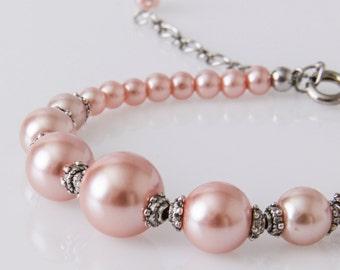 Pink Bracelet, Pink Pearl Bracelet, Pink Bridesmaid Bracelet, Pink Bridal Bracelet, Bridemaids Favor, Gift, Pink Wedding
