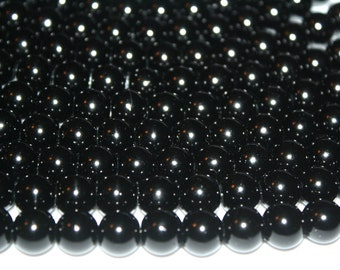 Black Glass Pearls, Black Beads, Glass Pearls - 8mm - 48ct