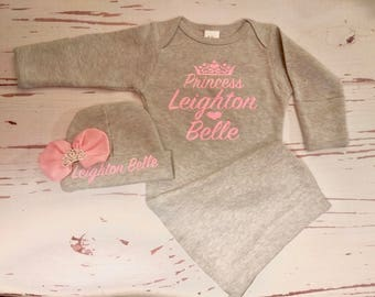 Newborn Baby Girl Coming Home Outfit, Baby, Clothes, Personalized, Newborn Girl, Outfit, Name, Take Home, Newborn, Baby, Gown, Layette, baby