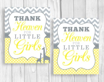 SALE Thank Heaven for Little Girls Printable 8x10 Yellow and Gray Baby Shower Sign or Nursery Print - Giraffes Optional - Instant Download