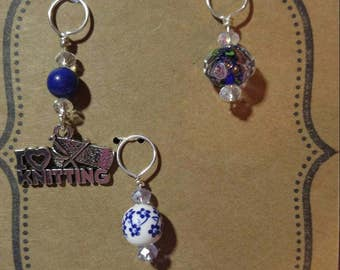 Blue themed knitting stitch markers with chech crystal accents