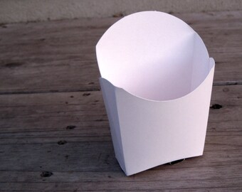 12 - White French Fry Boxes - Popcorn Box - Treat Box - Favor Box -