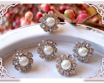10 pieces - 11mm Mini Crystal WHITE Pearl Rhinestone Buttons Embellishments - wedding / hair / dress / garment accessories Flower Center