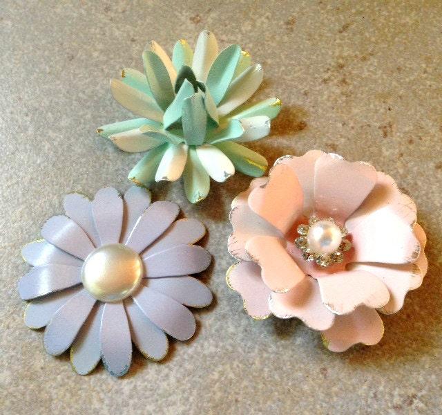 Pastel Flower Magnet Set Small Refrigerator Magnets Pink