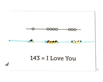 I Love You 143 Cord Bracelet, Valentines Day, - Aqua Gift for Sisters
