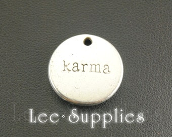 10pcs Antique Silver Alloy Karma Tag Charms Pendant A710