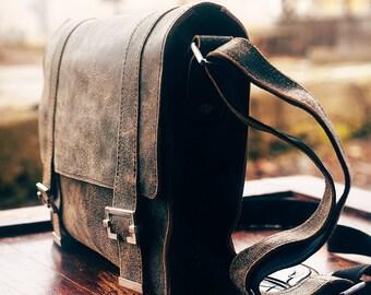 Satchel. Leather bag. Bag for men. Khaki leather satchel. Leather messenger bag