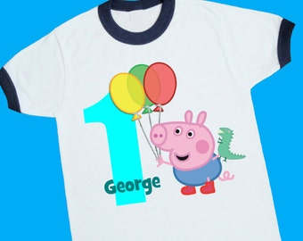 George Pig Birthday Ringer Tee. Peppa Pig. Personalized Birthday Shirt with Name and Age. 1st 2nd 3rd 4th 5th 6th Birthday T Shirt. (25058)