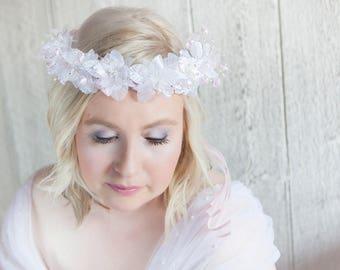 Bridal flower hairpiece, Flower girl pink & white headpiece, Halo, Pink flower crown, Head wreath, Forehead, Pink headband, Flowers boho