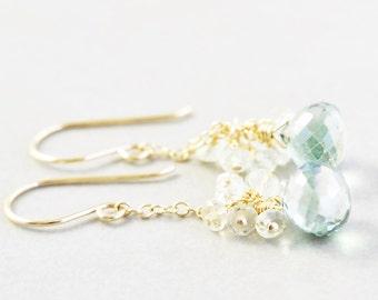 Green Dangle Earrings, Amethyst Cluster Earrings, Mint Green Earrings