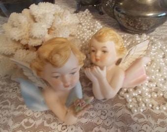 Bisque Angels Boy and Girl Cherubs wall decor