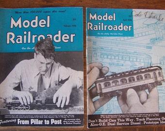 Vintage Model Railroader Magazines (set of 2) 1948.Train Theme Party.Model Railroad.Model Trains.Electric Trains.Train Engineer Gift.Trains.