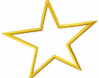 Applique Star Machine Embroidery Design - Instant Download