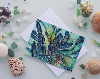 Blue Seaweed Greetings Card - Sea Flora Card - Illustrated Greetings Card - Card for Him - Sea Themed Card